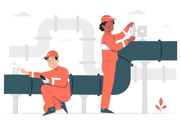 Ilustracja koncepcja konserwacji rurociągu