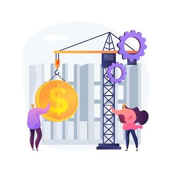 Ilustracja koncepcja kosztów budowy. zarządzanie projektem, kredyt bankowy, obrót nieruchomościami, projekt projektowy, inwestycja budowlana, obsługa wykonawcza, remont