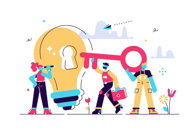 Ilustracja, koncepcja kreatywna pomysł klucz do sukcesu, energia żarówki i symbol