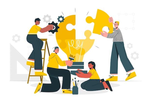 Ilustracja koncepcja kreatywnego zespołu