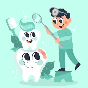Ilustracja Koncepcja Kreskówka Opieki Stomatologicznej Darmowych Wektorów