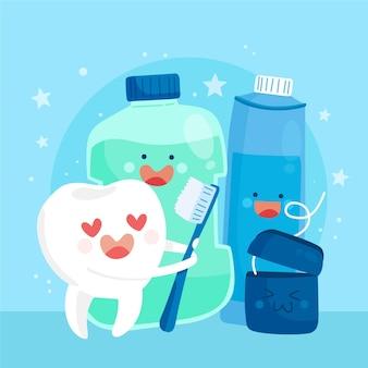 Ilustracja koncepcja kreskówka opieki stomatologicznej