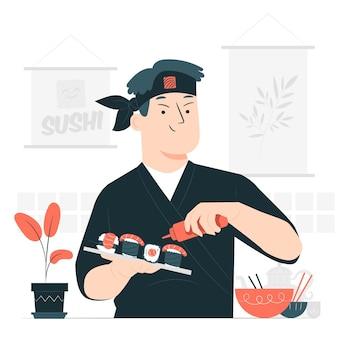 Ilustracja koncepcja kucharz sushi