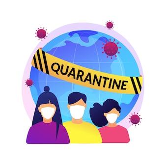 Ilustracja koncepcja kwarantanny. samodzielna kwarantanna, izolacja podczas pandemii, wybuch koronawirusa, pozostanie w domu, surowe środki rządowe, zrób swoją część.