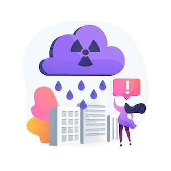 Ilustracja koncepcja kwaśnego deszczu. składnik opadów kwaśnych, problem zakwaszenia wody, pomiar ph wody deszczowej, szkodliwe działanie, toksyczny deszcz, atmosfera