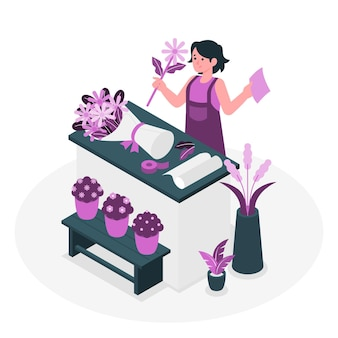 Ilustracja koncepcja kwiaciarni