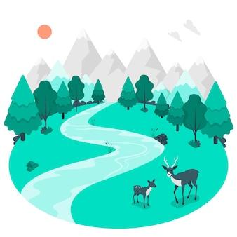 Ilustracja koncepcja lasu