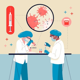 Ilustracja koncepcja lekarstwa na wirusy