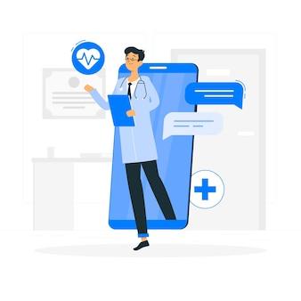 Ilustracja koncepcja lekarz online