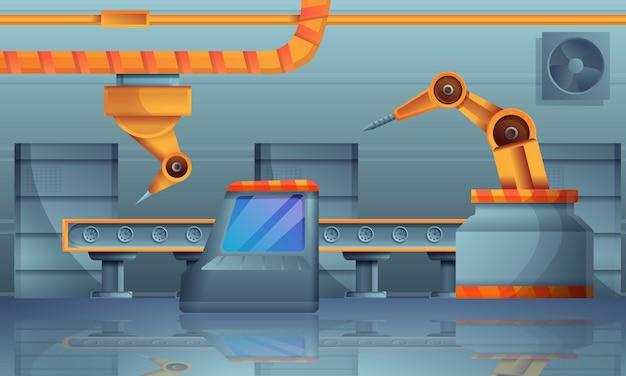 Ilustracja koncepcja linii montażowej, stylu cartoon