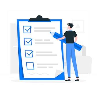 Ilustracja koncepcja listy kontrolnej