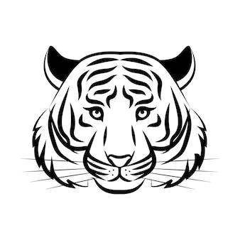 Ilustracja koncepcja logo głowy tygrysa w klasycznym stylu graficznym znak sylwetka głowy tygrysa
