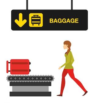 Ilustracja koncepcja lotniska, kobieta w terminalu bagażu lotniska