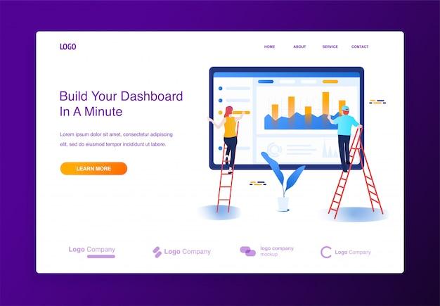 Ilustracja koncepcja ludzie budują stronę internetową, wypełniając ją treścią, interfejs deski rozdzielczej.