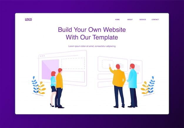 Ilustracja koncepcja ludzie budują stronę internetową, wypełniając ją treścią, tworząc interfejs ustawień.