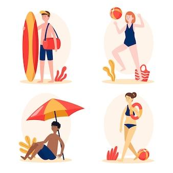 Ilustracja koncepcja ludzie plaży