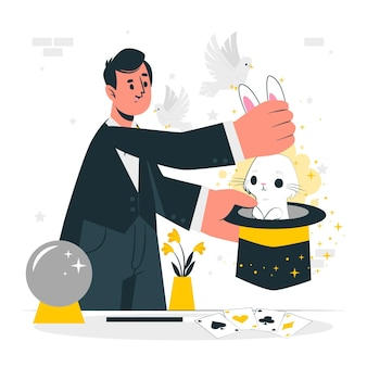 Ilustracja koncepcja magicznej sztuczki