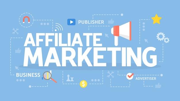Ilustracja koncepcja marketingu afiliacyjnego. idea biznesu i reklamy.