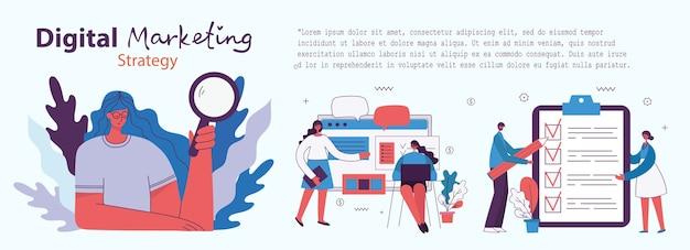 Ilustracja koncepcja marketingu cyfrowego w nowoczesnym, płaskim i czystym stylu. mężczyźni i kobiety używają laptopów i tabletów, wyszukują i promują. landing page, aplikacja jednostronicowa do tworzenia stron internetowych, projektowanie.