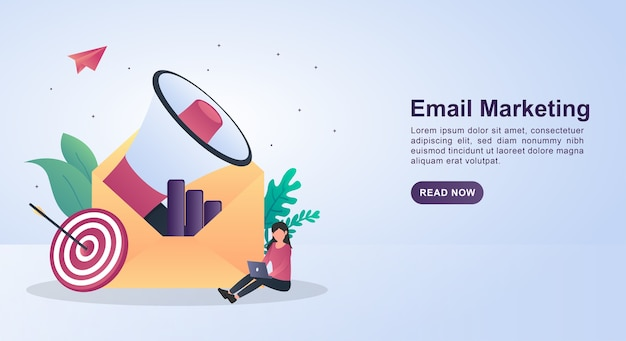 Ilustracja koncepcja marketingu e-mailowego z kopertą zawierającą megafon.