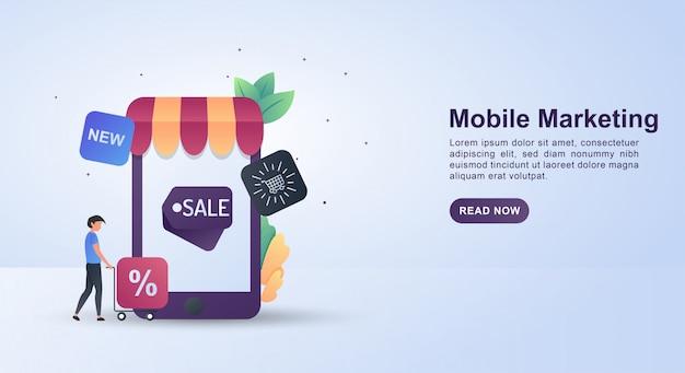 Ilustracja koncepcja marketingu mobilnego z różnymi atrakcyjnymi ofertami.
