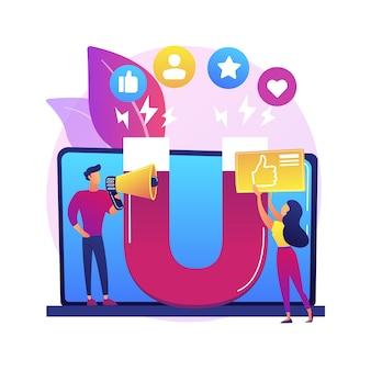 Ilustracja koncepcja marketingu zaangażowania. marketing internetowy, zarządzanie zaangażowaniem, aktywne uczestnictwo, handel online, strategia smm, treści interaktywne
