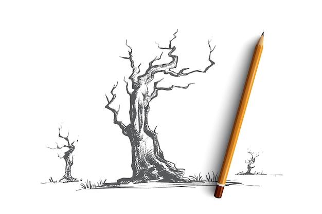 Ilustracja koncepcja martwych drzew