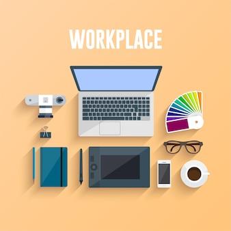 Ilustracja koncepcja miejsca pracy. płaska konstrukcja.