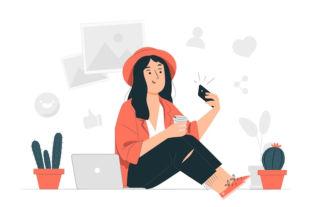 Ilustracja koncepcja millennial girl
