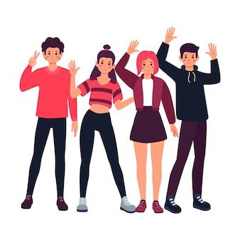 Ilustracja koncepcja młodych ludzi