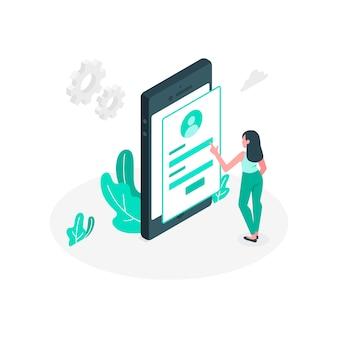 Ilustracja koncepcja mobilnego logowania