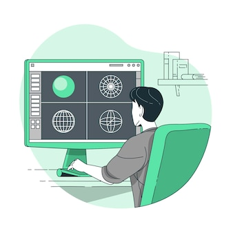 Ilustracja koncepcja modelowania 3d