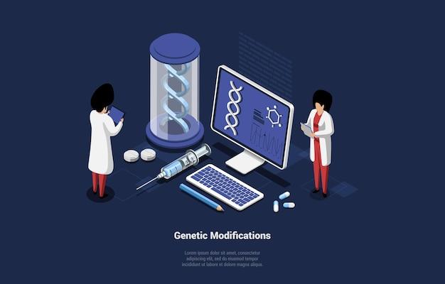 Ilustracja koncepcja modyfikacji genetycznych w stylu cartoon 3d.
