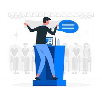 Ilustracja koncepcja mówca konferencji