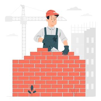 Ilustracja koncepcja murarza