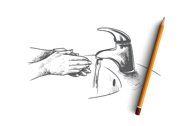 Ilustracja koncepcja mycia rąk
