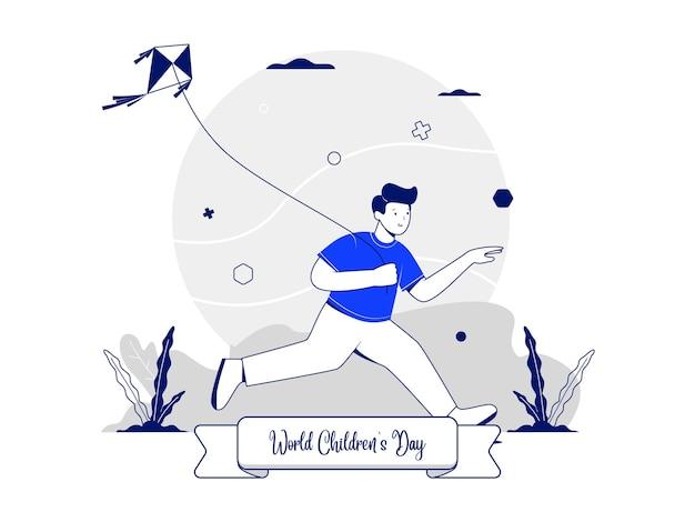 Ilustracja koncepcja na światowy dzień dziecka z postacią chłopca grającą latawiec podczas biegania