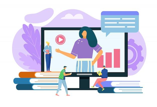 Ilustracja koncepcja nauczania online edukacja na odległość, studenci uczą się online, ekran komputera, technologia internetowa, wiedza i e-learning. usługa sieciowa szkoleń, badanie opinii.