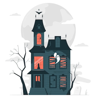 Ilustracja koncepcja nawiedzonego domu