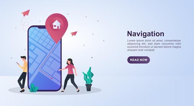 Ilustracja koncepcja nawigacji z ludźmi chodzącymi w poszukiwaniu adresów.