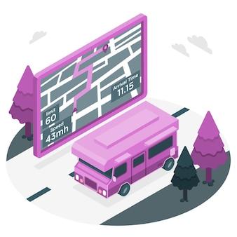 Ilustracja koncepcja nawigatora gps