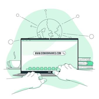 Ilustracja koncepcja nazw domen