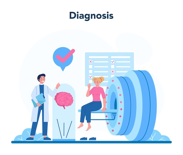 Ilustracja koncepcja neurologa w stylu cartoon