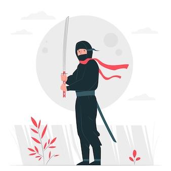 Ilustracja koncepcja ninja