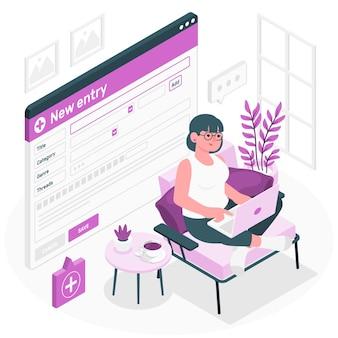 Ilustracja koncepcja nowych wpisów