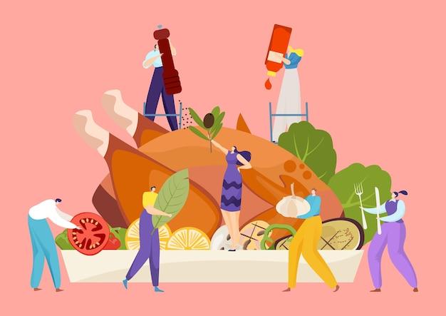 Ilustracja koncepcja obiad żywności wakacje