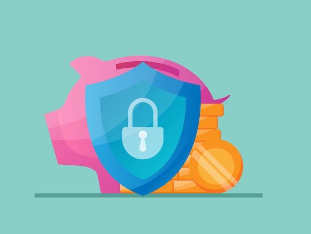 Ilustracja koncepcja ochrony oszczędzania pieniędzy płaska