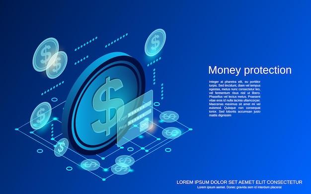 Ilustracja koncepcja ochrony pieniędzy płaski 3d izometryczny wektor ilustracja