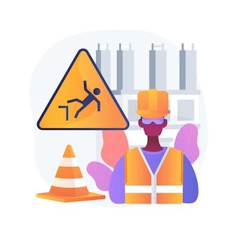 Ilustracja koncepcja ochrony placu budowy. wielopowierzchniowa tymczasowa ochrona, zapobieganie uszkodzeniom i opóźnieniom, komercyjne projekty budowlane i budowlane
