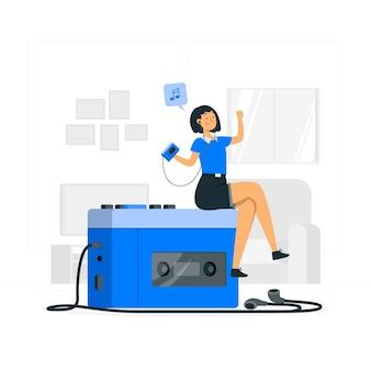 Ilustracja koncepcja odtwarzacza kasetowego